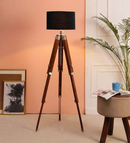 Black Fabric Floor Tripod Lamp By Beverly Studio