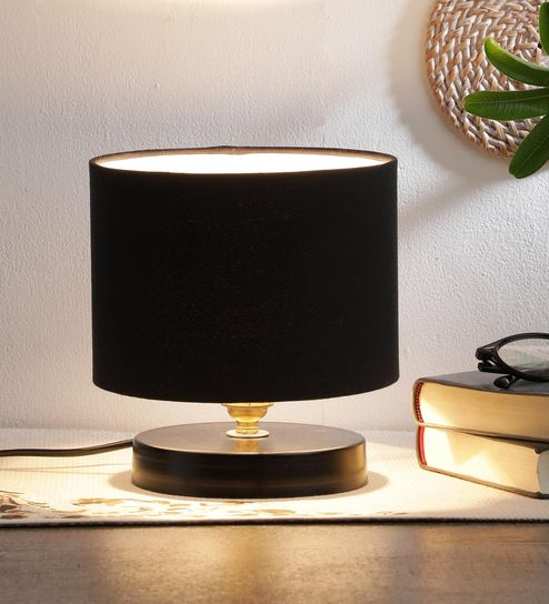 Black Cotton Shade Table Lamp With Metal Base By New Era