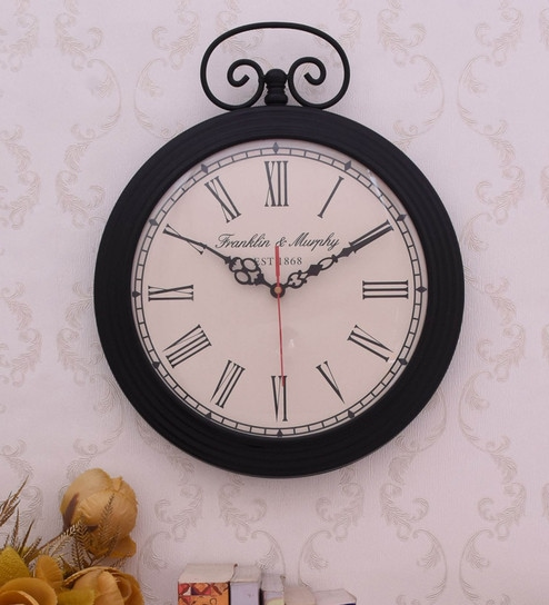 Black Iron Wall Clock By Home Sparkle