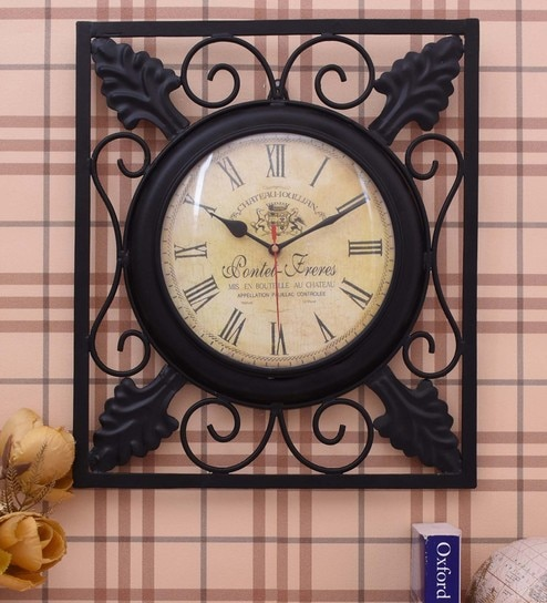 072cfec0d1 Buy Black Iron 13 x 2 x 15 Inch Wall Clock by Home Sparkle Online - Indian  Ethnic Wall Clocks - Wall Clocks - Decor - Pepperfry Product