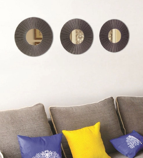 Layne Round Wall Mirrors Set Of 3 In Metallic Finish Frame By Hosley