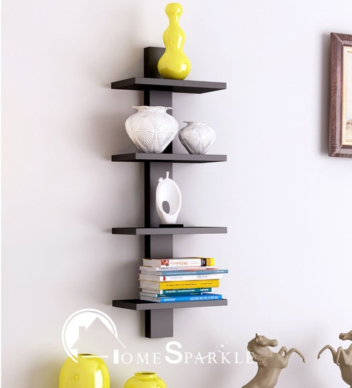 Awesome Spine 4 Tier Wall Shelf In Black Finish By Home Sparkle
