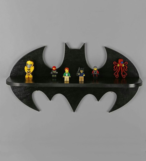Batman Logo Decorative Wall Shelf In Black Finish By Qesyas