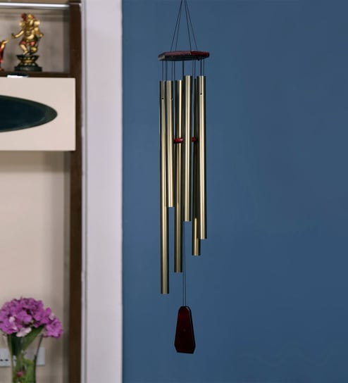 Black Metal Bells Hanging Tall Windchime By @home