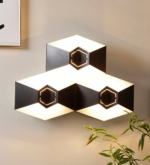 Black Metal Fold Triple Wall Light by Jainsons Emporio
