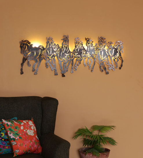 Black Metal Horse With Led Light Wall Hanging By Malik Design
