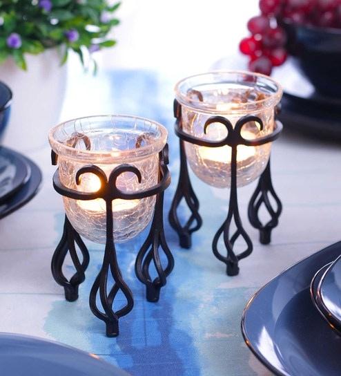 f669024a0836 Buy Black Metal U-Shaped Tea Light Holder - Set of 2 by Hosley Online -  Table Tea Light Holder - Tea Light Holders - Lamps   Lighting - Pepperfry  Product