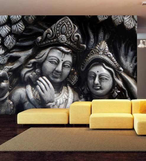 3D Radha And Krishna Mural Wallpaper
