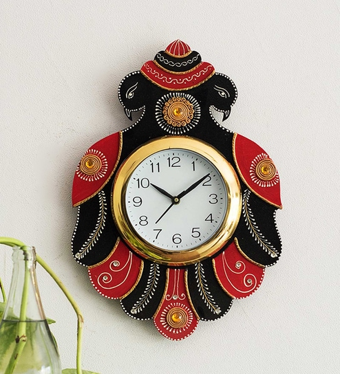 35d5245f9e Buy Black Paper Mache Handcrafted 2 Peacocks Decorative Wall Clock by  eCraftIndia Online - Indian Ethnic Wall Clocks - Wall Clocks - Decor -  Pepperfry ...