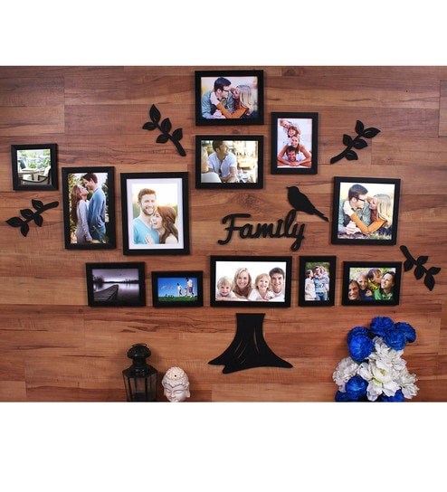 Buy Black Synthetic Wood Family Tree Set Of 12 Individual Wall Photo