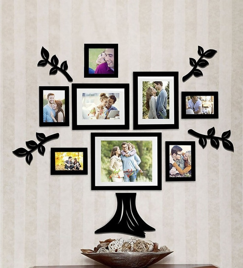 6bb205157c6 Buy Black Synthetic Wood wall photo frame set of 8 By Art Street Online -  Collage Photo Frames - Collage Photo Frames - Wall Art - Pepperfry Product