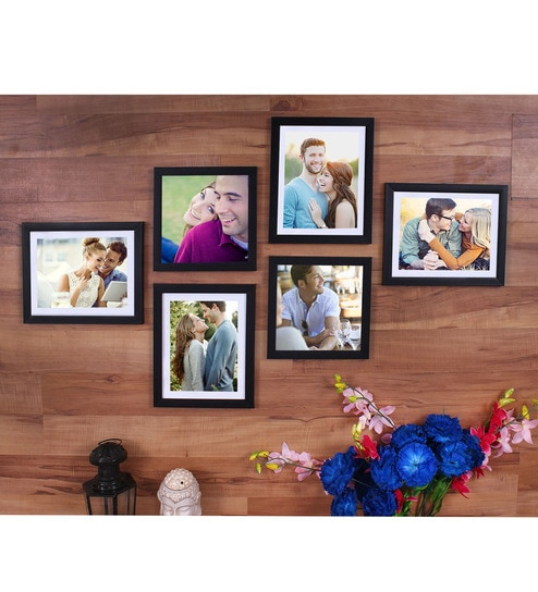 Black Synthetic Wood wall photo frame set of 6 By Art Street