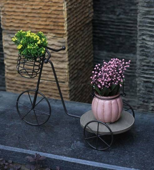 Black Wood Metal Cart Planter Stand By Tayhaa