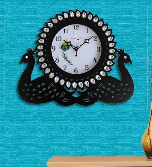 1ede8522f8 Buy Black Wood Wall Clock by Random Online - Indian Ethnic Wall ...