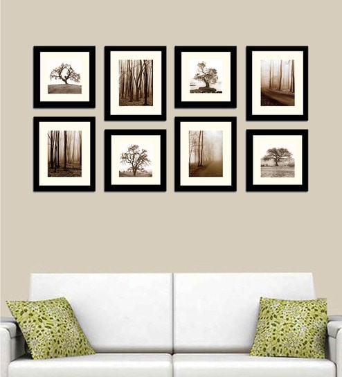 Black Wood Collage Photo Frames - Set of 8 by Art Street