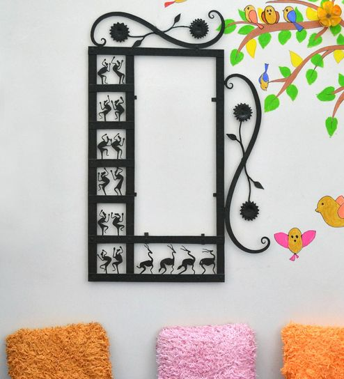 Buy Black Wrought Iron Rectangle Mirror Frame With Dome By Chinhhari