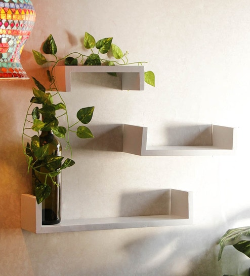 buy blackberry overseas set of 3 wall shelves white online rh pepperfry com 3 tier wall shelves 3 small wall shelves