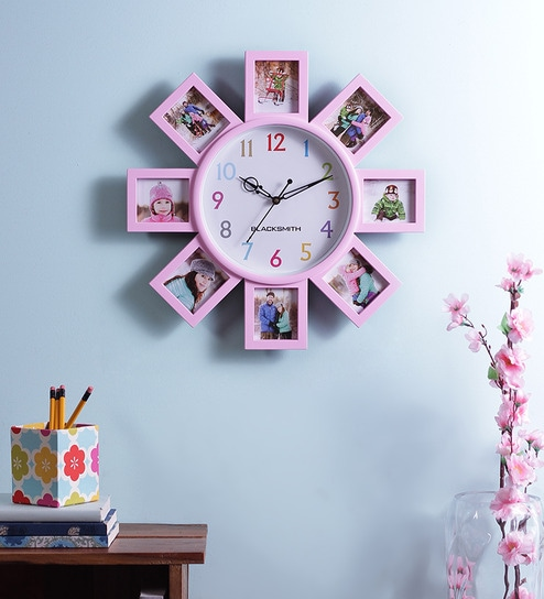Buy Blacksmith Pink Multiple Photo Frame Wall Clock Online Collage