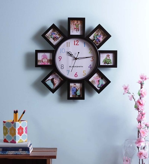 90b92ef5c79 Buy Blacksmith Black Multiple Photo Frame Wall Clock Online - Collage  Picture Frames   Sets - Photo Frames - Pepperfry
