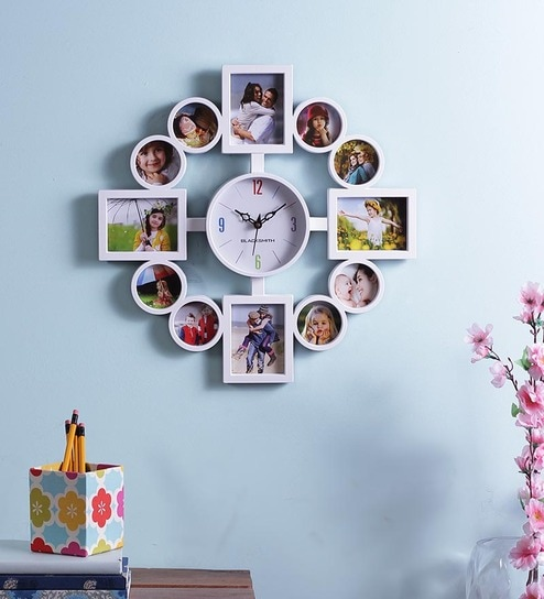 Buy Blacksmith White Multiple Photo Frame Wall Clock Online