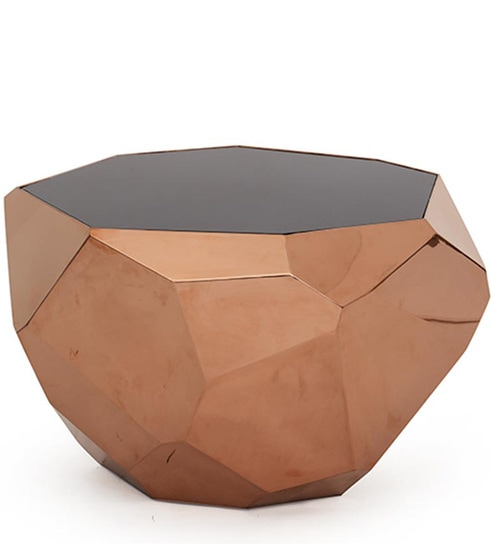 Blaine Octagonal Coffee Table Rose Gold Base By Bent Chair