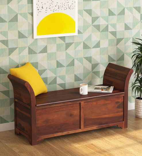 Blaine Solid Wood Settee in Honey Oak Finish by Woodsworth