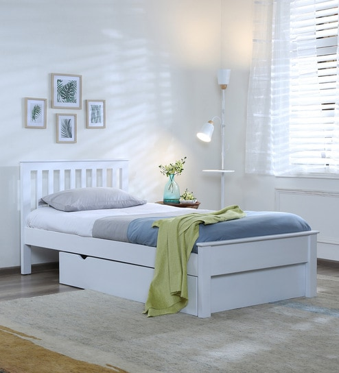 Blanche Solid Wood Single Bed With Drawer Storage In White Finish By Woodsworth