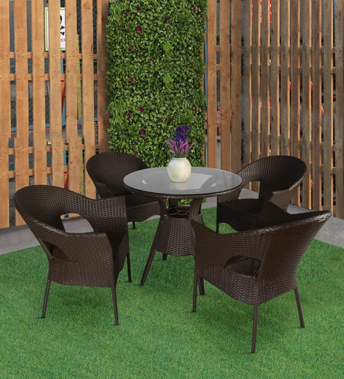 Bliss Outdoor Patio Set In Brown Colour
