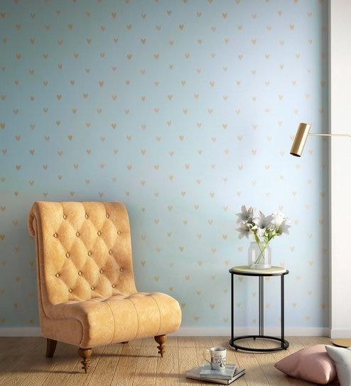Buy Blue Metallic Happy Hearts Wallpaper Nilaya Wall Coverings By