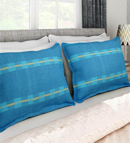 Buy Blue 40% Cotton 40 X 40 Inch Pillow Cover Set Of 40 By Soumya Fascinating 27 Inch Pillow Covers