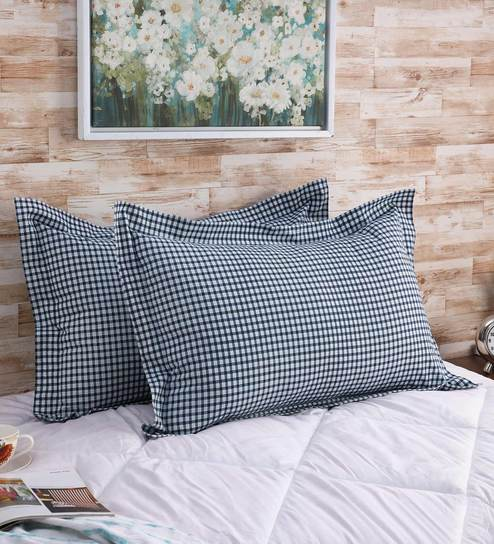 . Blue 100  Cotton 200 TC Designer Check Printed Pillow Cover by Solaj
