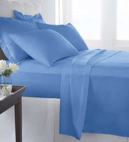 c206104c722 Buy Premium Solid 400TC Solid Bright Blue 100% Long Staple Cotton Satin  Double Size Bed Sheet with 2 Pillow Covers By Pizuna Linens Online - Solid  Colour ...