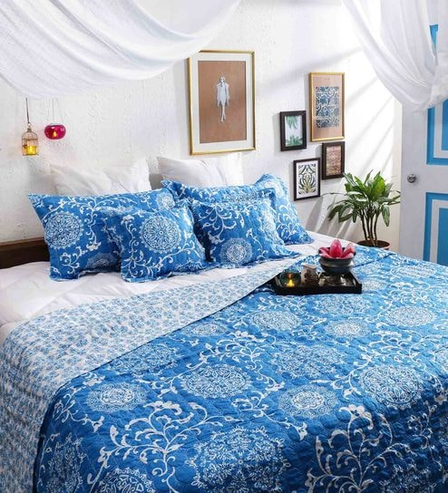 Buy Blue And White Cotton Queen Size Bedding Set Set Of 5 By Swhf