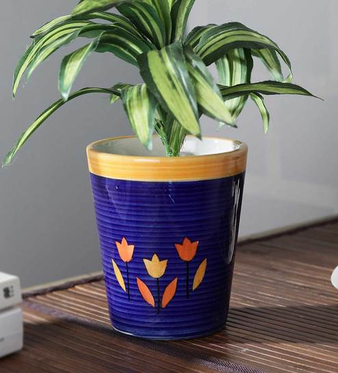 Pepperfry & Blue Ceramic Conical Shaped Ringer Painted Flower Pot by Cdi