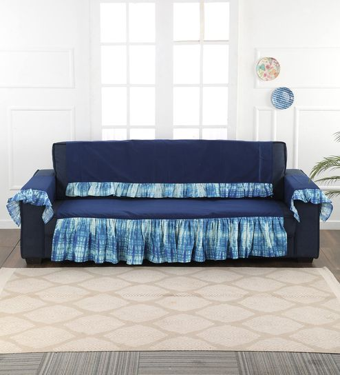 Blue Cotton 3 Seater Sofa Cover By