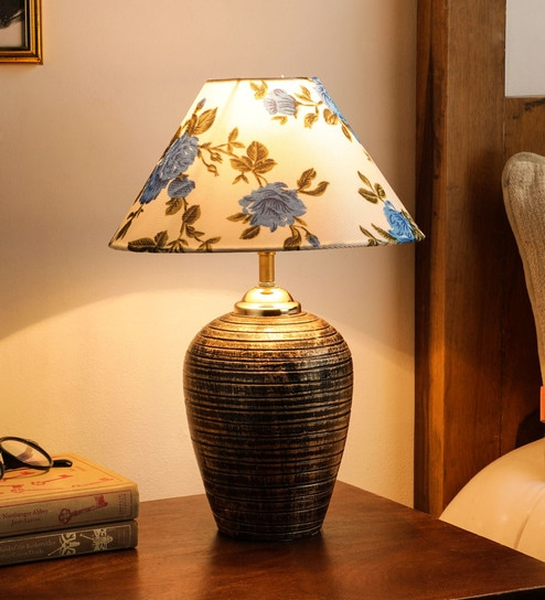Fabric Shade Table Lamp With Gold Base