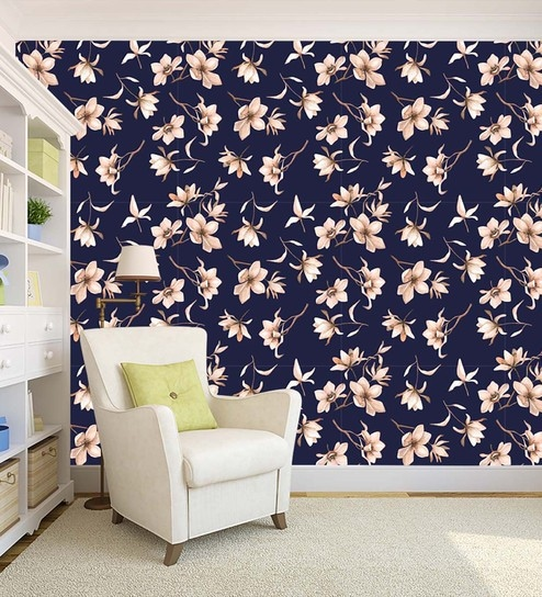 Blue Floral Theme Peel And Stick Self Adhesive Waterproof Hd Wallpaper By 100yellow