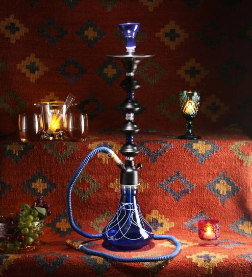 Blue Glass Decorative Stylo 30 Inch Hookah By Jaipurcrafts