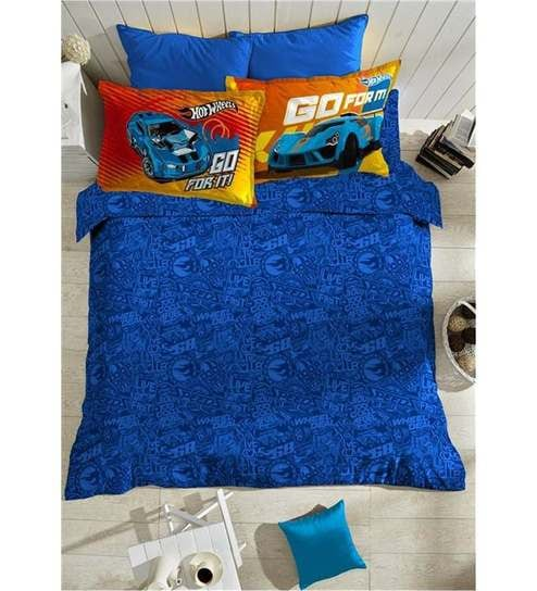 Portico New York Hot Wheels Blue Cotton Single Bed Sheet Set