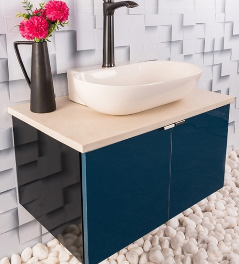 Stainless Steel Bathroom Vanity In Blue With Counter Top Wash