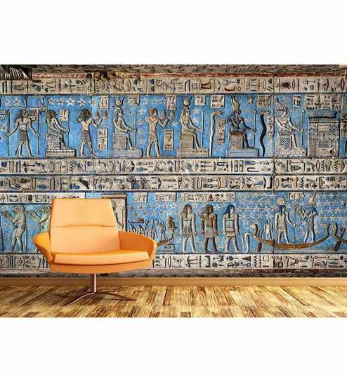 Buy Blue Non Woven Paper The Egyptian Wall Art Wallpaper by Wallskin ...