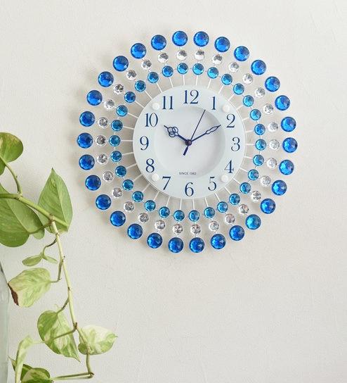 Blue Plastic Decorative Analog Round Diamond Series Wall Clock by  eCraftIndia