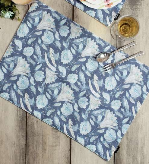 Blue Polycotton Ethnic Placemats Set