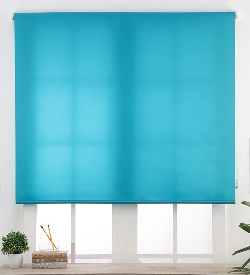 Blue Polyester 7x3 Feet Meadowbrook Roller Blind by Deco Window