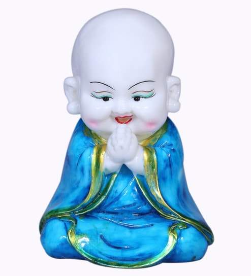 Buy Blue Polyresin Laughing Buddha Idol By Aspiration Collection