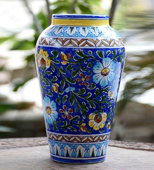 Buy Blue Quartz Traditional Vase By Craftedindia Online Ceramic
