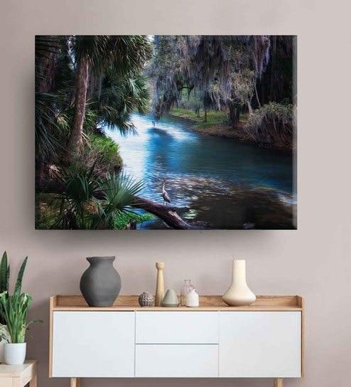 Blue Waterbody Unframed Canvas HD Print by Baandhani