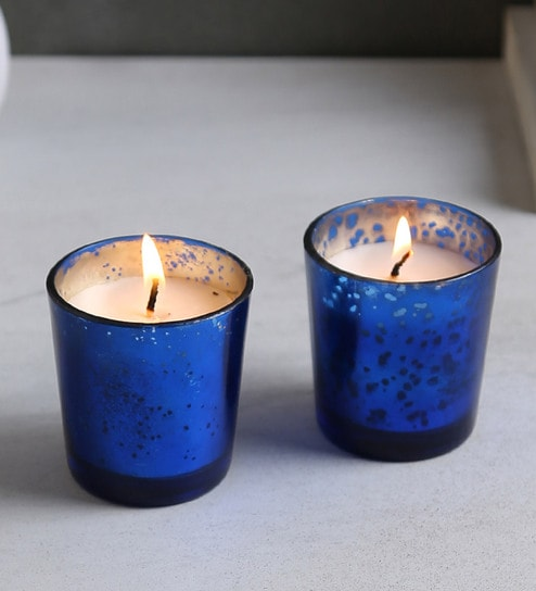 Blue Wax Non Aromatic Festive Glitter Votive Candles - Set of 2 by Resonance