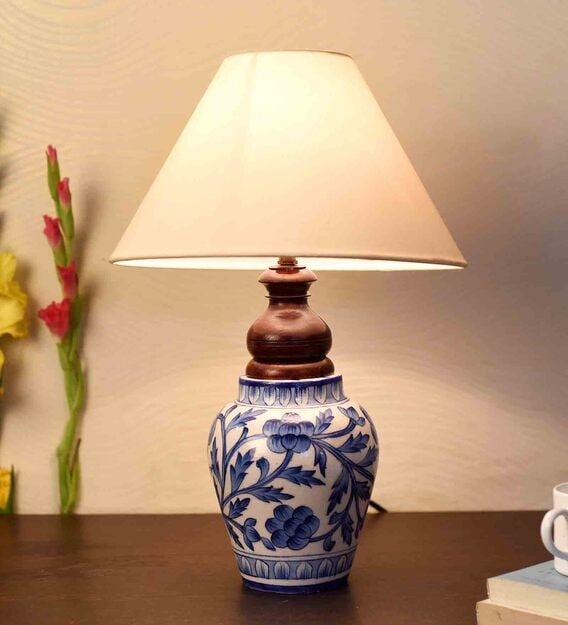Blue Pottery Mugal Art Ceramic, Ceramic Table Lamps India