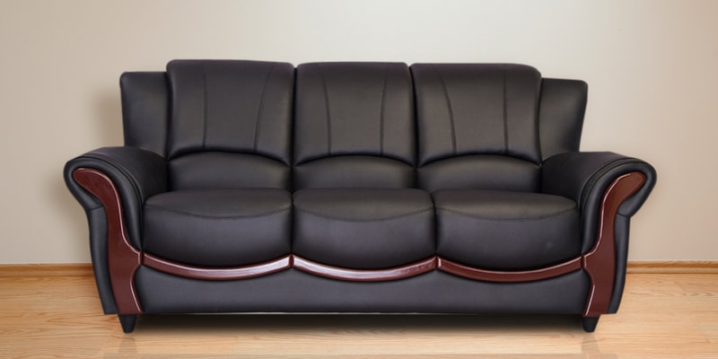Buy Blos Three Seater Sofa In Eerie Black Colour By Durian